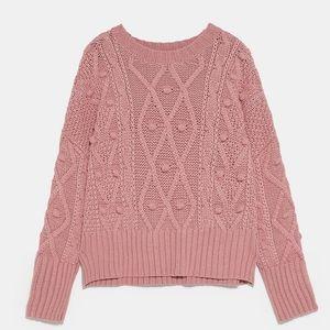 Zara Knobbly Argyle Style Knit Oversized Sweater